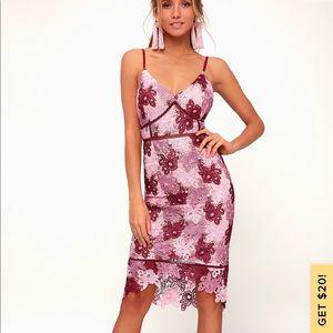 Lulu's Mauve Multi Lace Bodycon Dress NEVER WORN